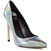 67c1fd5ea01 Faith Womens Silver Holographic 'Chloe' Stiletto Heel Court Shoes