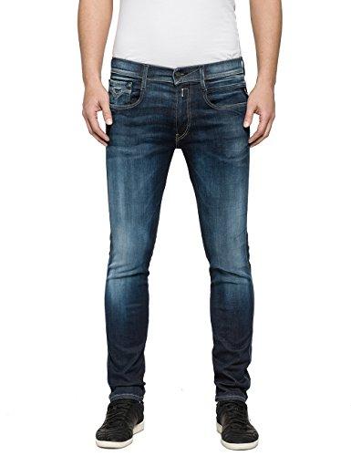 Replay Herren Slim Jeans Anbass, Blau (Blue Denim 9), W34/L30 (Herstellergröße: 34) (Klassische Zip Shorts Fly)
