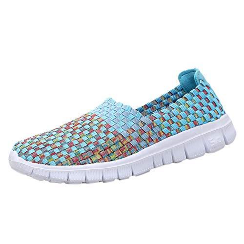 CUTUDE Sommer Damen Handgewebte Schuhe Atmungsaktive Freizeitschuhe Elastischer Gürtel Faule Schuhe (Himmelblau, 40 EU) -