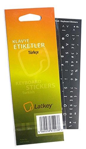 Türkisch-Tastatur-Aufkleber für PC, Laptop, Computer PC Tastaturs, MacBook (schwarzer Hintergrund Aufkleber, weißen Buchstaben) -
