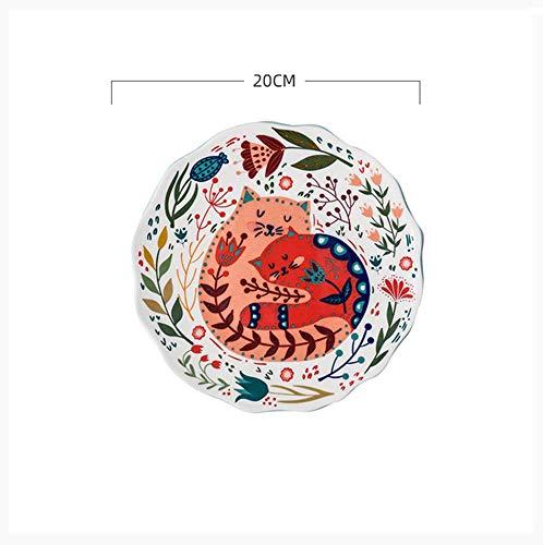 BOOMZZ Piatti di Gatto Dipinti A Mano Piatti da Tavola in Ceramica per La Casa Piatto Snack Piatto Piatto Piatto Piatto 8 Pollici 8 Pollici Gatto Rosa