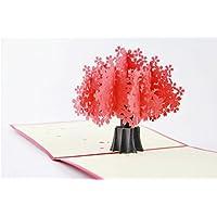 Handgemachte Pop-up-Pop-up 3D-Karte rote Sakura Kirschblüten Baum Geburtstag Valentines Muttertag Ostern Engagement Hochzeitstag Karte Party Einladung Garten zeigen ihm ihr Freund Familie Kollege