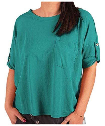 CuteRose Womens Shirts Blouse Half Sleeve Basic Style Lounge Pockets Down Tops Lake Blue 2XL Stripe Down Vest