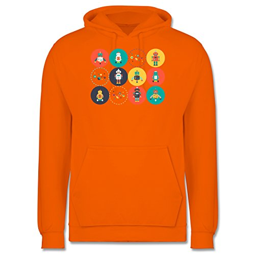 Nerds & Geeks - Roboter Design - Männer Premium Kapuzenpullover / Hoodie Orange