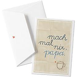 Mach mal nix, papa, Glückwunschkarte für Väter, Vatertagskarte oder Weihnachtskarte, Gutschein mit Spruch zum Vatertag oder Geburtstag, mit Herz - Umschlag
