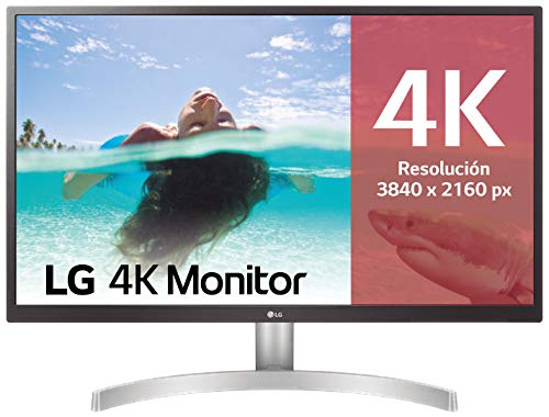 LG 27UL500-W - Monitor 4K UHD de 68,6 cm (27') con Panel IPS (3840 x 2160 píxeles, 16:9, 300 cd/m², sRGB 98%, 1000:1, 5 ms, 60 Hz) Color Blanco