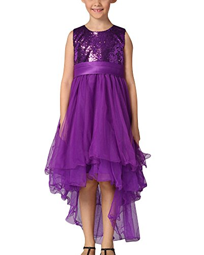 Ragazze paillettes abiti senza maniche principessa compleanno festa matrimonio sera vestito porpora per 3-4 anni