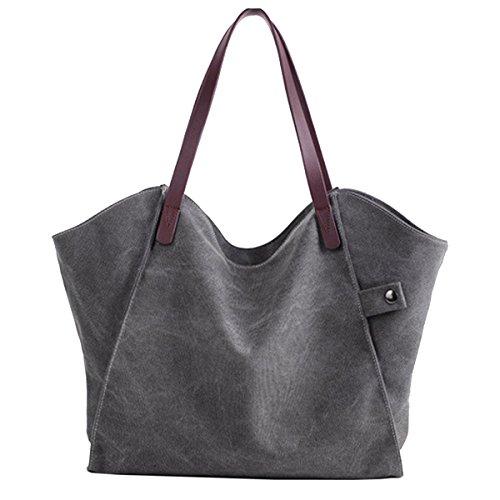 SANANG Damen Segeltuch Schulter Beutel beiläufige tägliche Einkaufen Beutel Handtasche Grau