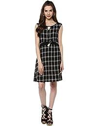 Taurus Women's Cotton Black Checkered Dress