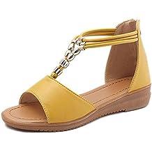 ASHOP Sandalias Mujer Bohemia Las Bailarinas Planas Zapatos de Cordones Verano Boca de Pescado Moda Zapatillas