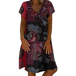 BaZhaHei Vestidos De Fiesta para Bodas Talla Grandes Vestidos Playa Mujer Vestidos Casuales Vestido Midi Vestido Verano Vestidos Mujer Vestido Patchwork Falda de Manga Corta Color sólido para Mujer