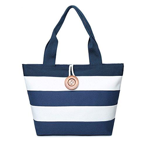 PDFGO Damen Portable Leinentasche Striped Bag Pin Gürtelschnalle Tasche Tote Bag Handtasche Blue