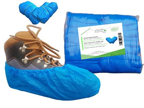 100x Überziehschuh, Polyethylen, 40µ, blau, niedrige Ausführung, geprägt, Farbe: BLAU -