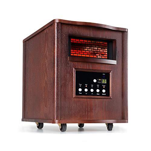 Klarstein Heatbox Calefactor infrarrojo - Aparato portátil , Calefacción con ruedecillas , 4 fuentes de calor , 1500 W , De 5 a 30 °C , AntiDryAir Heat , Mando a distancia , Nogal oscuro