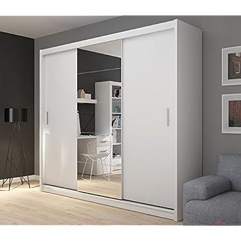 Fado Extra Large White 235 Cm Mirrored 3 Door Wardrobe Closet