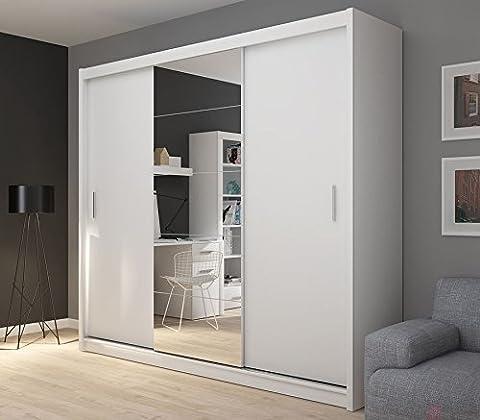 Fado Extra Large Blanc 235cm Miroir Armoire 3portes Armoire à portes coulissantes miroirs étagères tiroirs à suspendre Vêtements Rail meubles de chambre à coucher couloir