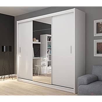 FADO Extra Large White 235 Cm Mirrored 3 Door Wardrobe Closet With Sliding Doors Mirrors Shelves