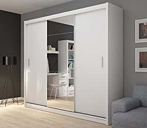 fado extra gro 235 cm wei verspiegelt kleiderschrank 3 t ren schrank mit schiebet ren spiegel. Black Bedroom Furniture Sets. Home Design Ideas