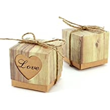 CLE DE TOUS - Set 50 Cajas kraft para dulces bombones Caja kraft de boda regalo Caja de cuadro Rústico con Corazón ¨LOVE¨ con cuerda Gift