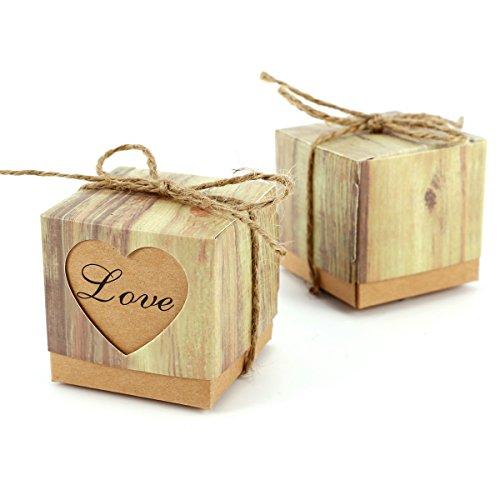 CLE DE TOUS - Set de 100 Cajas para dulces bombones Caja kraft de boda regalo Caja de cuadro Rústico con Corazón ¨LOVE¨ con cuerda Gift