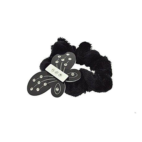 Chouchou en Velours 5,5 cm - Papillon Noir & Blanc Plastique et Strass 5,5 cm - Elastique Accessoire Cheveux Coiffure