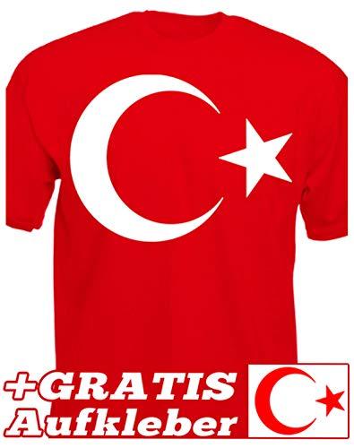Türkei t-Shirt Türkiye Islam Turkey türkiye Flag Sticker Halbmond Stolz Heimat Türke Halbmond Stern Atatürk (XXXL, Rot)