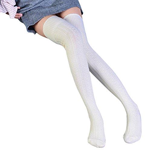 TinTop Hohe Socke Overknee Strümpfe Überknie Kniestrümpfe Mädchen Baumwolle Hold-up-Strümpfe Retro Knitting Sportsocken, Winter Hohe Socken