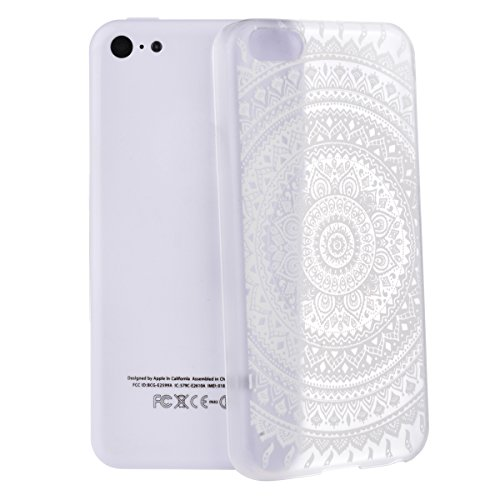 GrandEver Relief Case Phone Holster für Apple iPhone 5C Handy-Tasche Blume Pattern Bild Hard Case Handy Hülle Transparent Schutzhülle für iphone 5C (Elefant) Retro Blume