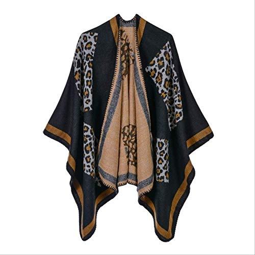 Hemiaodd mantella poncho stampata da donna, sciarpa invernale da donna lavorata a maglia con mantella poncho in cashmere leopardato, poncho invernale oversize coperta calda nera