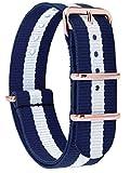MOMENTO Damen Herren NATO Nylon Uhren-Armband Ersatz-Armband Uhren-Band mit Edelstahl-Schliesse in Rosegold und Nylon Uhr-Armband in Blau Weiss 18mm