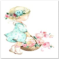 Posters Prints Cute Baby Girl Rose Flower Umbrella Wall Art Painting Nursery Wall Pictures for Kids Room Decor