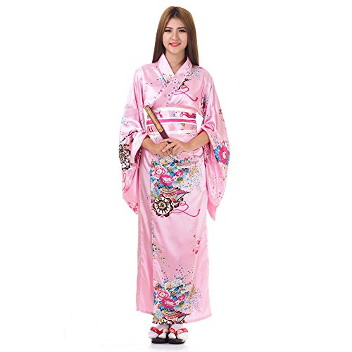 Japanischer Geisha Kimono Sakura Rose Satin One (Kleid Japanische Kimono)