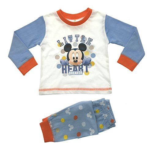 Pigiama disney per bambini e neonati, con mickey mouse little heart breaker - blue/white/orange 12-18 mesi