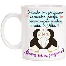 Taza Pingüino. Cuando un Pingüino encuentra pareja permanecen juntos toda la vida. ¿Quieres ser mi Pingüino?