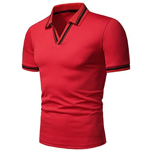 Armanis Polo de Loisirs pour Les Hommes,Polo à col en V en Polyester T-Shirts d'été à Manches Courtes,Red,M