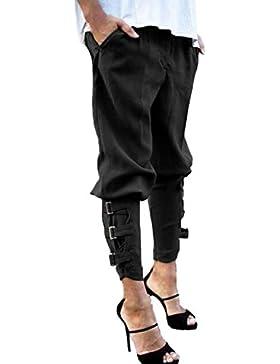 StyleDome Pantalones Largos Casuales Elegantes Bolsillos Oficina Algodón para Mujer