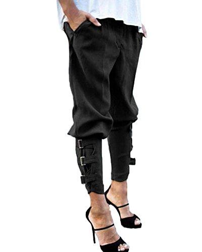 StyleDome Pantalones Largos Casuales Elegantes Bolsillos Oficina Algodón para Mujer (EU 36, Negro)