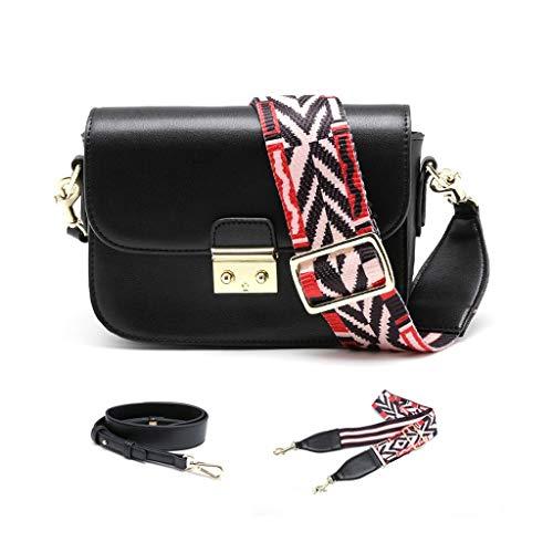 Damen Leder Schultertasche New Wild Broadband Network Handtasche Mode Schulter/Cross-Body Taschen klein (Farbe : SCHWARZ, größe : 20 * 6 * 14cm)