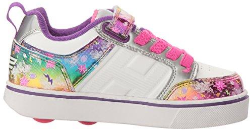 Heelys X2 Bolt Plus, Chaussures de Tennis Fille Blanc Cassé (White / Silver / Rainbow)
