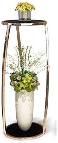 ATR Leichter Doppeldecker runder Blumenständer aus Glas Wohnzimmer Moderner Balkon Stehender Goldspeicher Hoher und niedriger Blumenständer Kombination (Farbe: Roségold, Größe: L)