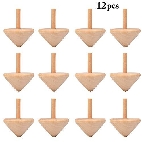 FunPa Kreisel aus Holz, 12 Stück DIY Bemalung Spielzeug Kreisel Kreative Natürliche Spin Top Holzkreisel Spielzeug Holzspielzeug für Kinder Garden Party