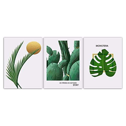 Piante verdi Monstera Foglia Cactus Poster Arte Stampe Minimalismo Telastile Pittura Moda Casa Soggiorno Decorazione della parete Senza cornice 50x70cm