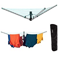 LIVIVO 3 Arm Heavy Duty Folding Wall Mounted Clothes Airer Dryer Washing Line Garden With Free Protective Cover - Space Saving Design