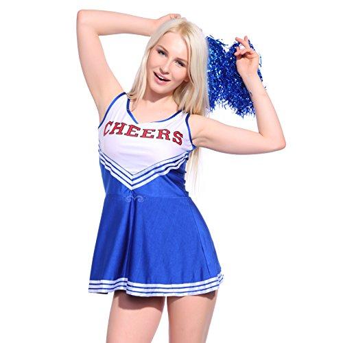 Imagen de anladia  disfraz de animadora cheerleader para adulta mujer mini vestido sin mangas con letras ¨cheers¨ color azul talla 36 38 40 42 44 s 38  alternativa