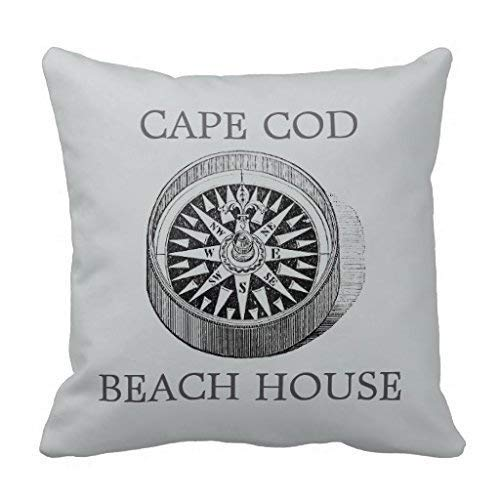HOTNING Zierkissenbezüge, Throw Pillow Covers, Throw Pillow case, Cap Compass Cape Cod Beach House Square Pillowcase 18 inches (Two Side) -