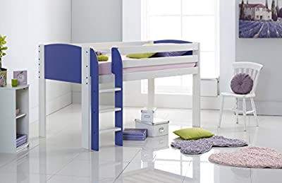 Scallywag Kids Cabin Bed Narrow - White/Lilac - Straight Ladder - Made In The UK