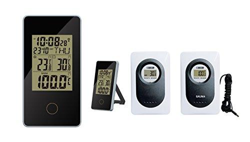 60 Sek. Thermometer (Funk Sauna Thermometer Froggit WS80, Außensensor, Uhrzeit, Saunamessung)