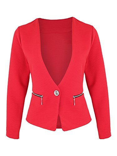 Eleganter Damen Blazer mit Taschen ( 415 ), Farbe:Rot, Kostüme & Blazer für Damen:44 / XXL (Kostüm Dama Elegante Xxl)