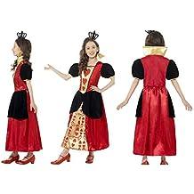 Fancy Dress World 44458 - Disfraz de Reina de Corazones para niña con  Corona de Fieltro 7a28fa16caa