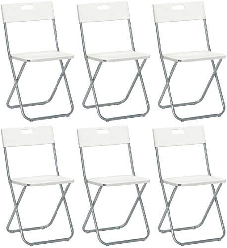 Savino Felipe SRL 6sillas Silla Plegable Blanca IKEA gunde de Acero Hierro...